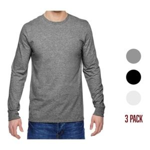 3Pk Fruit Of The Loom Mens Cotton Long Sleeve Tees